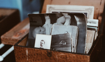Book of old photos depicting family history